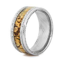 Carbon Fiber: Resin Coat 7 mm. Engagement Ring Wedding Ring Custom Made Ring Leopard Wood Ring