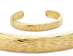 18k Gold Over Sterling Silver Textured Thin Cuff Bracelet Joolwe. $94.99