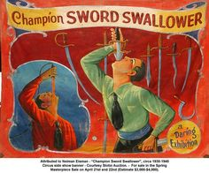 Vintage sideshow painted canvas