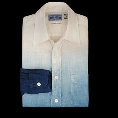 -Made in Japan.-Dip dyed with natural indigo this linen button down is absolutely beautiful.-100% linen.-Spread collar.-Single chest pocket.-Mother of pearl buttons.-Dip dyed with natural indigo that will crock and fade over time.-Slim fit through shoulders and body.