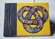 Large Handmade Journal, Blank Book, Guest Book in Yellow and Navy with Celtic Knot Postage Art by BookArtsAndEphemera on Etsy