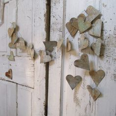 Handmade metal heart garland hand cut aged and distressed hearts Christmas…