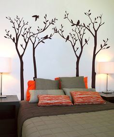 Would be super cute to paint something like this as headboards for kids, flowers, etc....cute idea