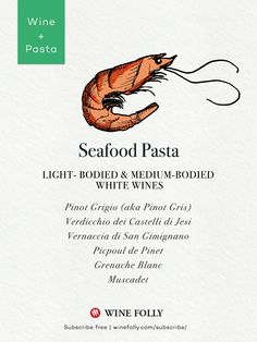 Seafood pasta wine pairing ideas by Wine Folly - http://winefolly.com/tutorial/on-pairing-wine-with-pasta/