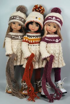 """Fall_Trio 1"" by Maggie & Kate Create (Little Darling Dolls by Dianna Effner)  