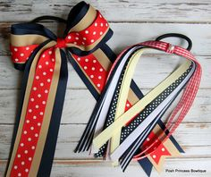 Back to School Styling Ideas for uniforms. http://beautymommy.com/ School hair bows set School uniform hair bows Cheer bow Pony tail streamer Navy Red Khaki White