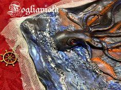 Kraken Journal. Available now on FOGLIAVIOLA.COM !    #kraken #octopus #piovra #polipo #mostro #mare #sea #seajournal #seamonster #horror #cthulhu #marine #krakenbook #handmade #boat #abyss #abisso #goth #obscure #pirate #pirata #piratejournal #fogliaviolastyle