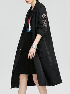 Black Casual Plain Appliqued Trench Coat