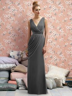 Bridesmaid dress in gray - Crinkle chiffon dress with draped v-neckline and swag detail at side skirt.  Belt always matches dress.
