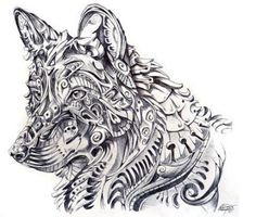 Collection of Zentangle Wolf Coloring Pages Kurt Tattoo, Tattoo L, Tatoo Art, Sketch Tattoo, Abstract Wolf, Abstract Animals, Abstract Art, Tribal Animals, Abstract Drawings