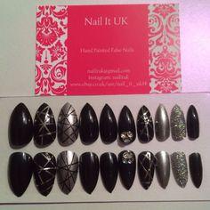 Hand Painted Full Cover False Nails. Stiletto Black & Silver Glitter Nail Art.