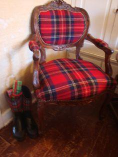 Victorian Red plaid chair