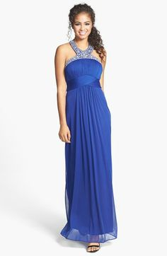 Xscape Embellished Neck Pleated Gown available at #Nordstrom