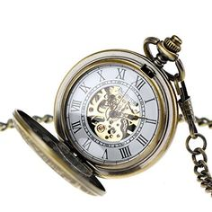 Pacifistor Bronze Men's Classic Vintage Antique Hand Wind Up Semi Automatic Skeleton Mechanical Roman Numeric Analog Pocket Watch +Fob-Chain #PX-012-BRZ, http://www.amazon.com/dp/B00HWQX5RA/ref=cm_sw_r_pi_awdl_vIz1ub0SBAYJ9