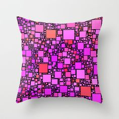 Post It Pink Throw Pillow - $20.00. Worldwide shipping available at Society6.com. #cushion #pillow  #pink #squares #geometric #contemporary #pattern #homedecor #dorm #bed