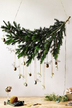Hanging Bough - Christmas Decorations to Make (houseandgarden.co.uk)....for swarovski stars?