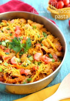 One pot chicken enchilada pasta