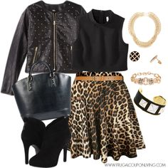 Become daring with the pieces in this Frugal Fashion Friday Outfit – Grab a Cheetah skirt for under $15, sparkle with a studded leather jacket and take a plunge with a cropped tank in black. Description from frugalcouponliving.com. I searched for this on bing.com/images