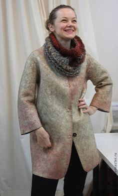 Nuno Felting, Needle Felting, Felt Art, Wool Felt, Designer Dresses, Tatting, High Neck Dress, Turtle Neck, Coat