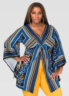 Plus Size Fashion | Printed Flyaway Knot Front Top (plus size) #plussizefashion #top