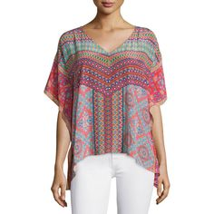 Tolani Briyanna Printed Silk Caftan Top ($205) ❤ liked on Polyvore featuring plus size women's fashion, plus size clothing, plus size tops, coral, silk kaftan, silk top, kaftan tops, plus size kaftan and sweater pullover