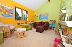 Love this room for kid space.