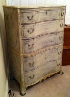 neutral tones, distressed French dresser, painted for Project 1. Great lines.