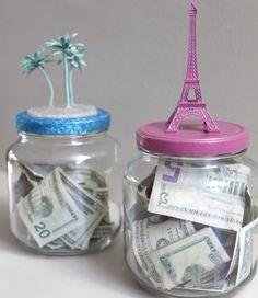 Cadeau Creatief met glazen potten (spaarpotten)