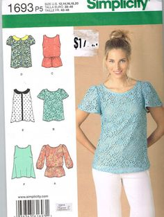 Simplicity 1693 Sewing Pattern Supplies Misses Top by OhSewWorthIt, $5.00
