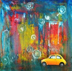 Rain Painting idea ...here is a link to the site: http://amygrennell.wordpress.com/2011/06/05/burlap-and-fiat/
