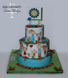 Children Cake (Sugar Art for Autism) - Cake by Dolci Ritratti di Katia Malizia Gorgeous Cakes, Amazing Cakes, Hand Painted Cakes, Sugar Craft, Children With Autism, Children Cake, Cake Cookies, Cupcakes, Themed Cakes