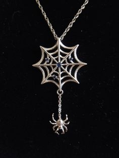 Sterling Silver and Sapphire Spider and by AJMartinJewelry on Etsy