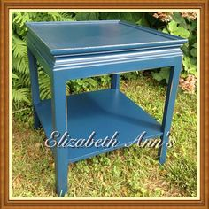 Marine Blue End Table Chalk Painting, Marine Blue, Furniture Makeover, French Vintage, End Tables, Reuse, Farmhouse Style, Painted Furniture, Shabby