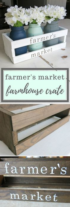 Check out the tutorial on how to make this #DIY #farmhouse crate centerpiece with #masonjars #homedecor #woodworking @istandarddesign