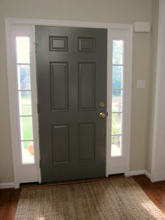 benjamin moore chelsea gray | Inside of Front Door would tie the whole color scheme together if you painted the back of the front door this grey, and the walls a lighter shade. Continue that color throughout the living room dining room area.