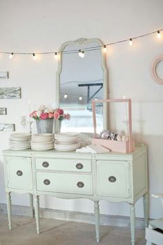 Painted side board, lights, shabby, chic, mirror, mint and pink...Like *gasp* I can't even-  <3