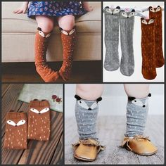 e979f4f0032 Details about Korean Style Toddlers Kids Girls Fox Pattern Knee High Socks  For Age 0-6 Years