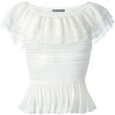 Alexander McQueen Victorian lace knit top ($1,705) ❤ liked on Polyvore featuring tops, white, off shoulder lace top, lace off the shoulder top, ruffle top, white off shoulder top and off-the-shoulder tops