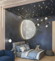 [New] The 10 Best Home Decor (with Pictures) - Check out this awesome space themed room! Love the starry night detailingCredit to Baby Room Decor, Room Decor Bedroom, Girls Bedroom, Space Theme Bedroom, Outer Space Bedroom, Nursery Decor, Master Bedroom, Kids Room Design, Baby Boy Rooms