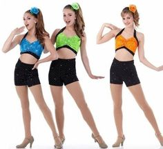 COME AND GET IT Crop Top & Shorts Turq Green Orange Dance Costume Child & Adults #Cicci