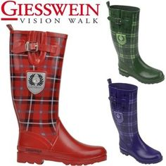 Giesswein Tartan Design Festival Wellies Snow Rain Fur Lined Wellington Boot