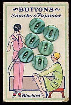 ButtonArtMuseum.com - Vintage green MOP buttons on art deco card
