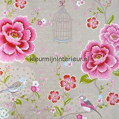 Pip vogels, bloemen en kooitjes 313014   PiP Wallpaper 2011 Eijffinger   kleurmijninterieur.nl