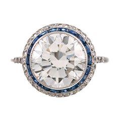 Brilliant Diamond Sapphire and Platinum Filigree Engagement Ring