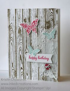 Feminine card using the Hardwood background stamp and the Papillon Potpourri stamp with coordinating punches.