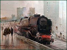 Dusan Djukaric Old master, watercolor, 31x41 cm