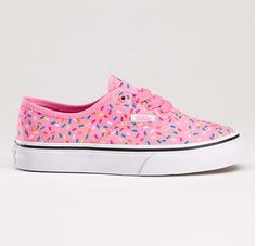 Rainbow sprinkle Van's - canvas lace-ups covered in rainbow sprinkles. Reminiscent of a pink glazed donut or strawberry ice cream. What do you think?