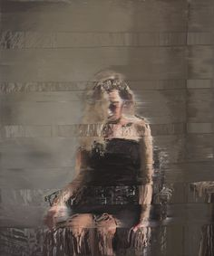 Andy Denzler, 'Girl With Artist Chair I', Oil on canvas, 70 × 59 in Artist Chair, But Is It Art, Blurred Lines, High Art, Glitch, Oil On Canvas, Fashion Art, Liberty, Cool Art