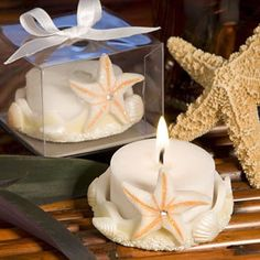 "Starfish Candle Favors - Starfish Designed Poly Resin Base - White Tea Light Included - Measures 1 ¼"" by 2"" These starfish candle favors will add a breezy, natural touch to your beach themed event. St"