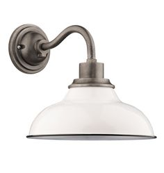 """Carson 12"""" Wall Sconce Gloss White // Rejuvenation // Bedroom Exterior Door Porch Light // Several shade options available"""